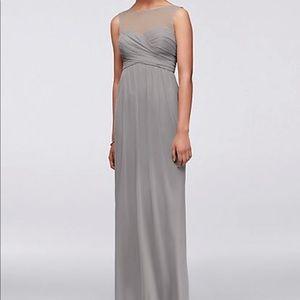 David's Bridal illusion neckline #bridesmaid dress